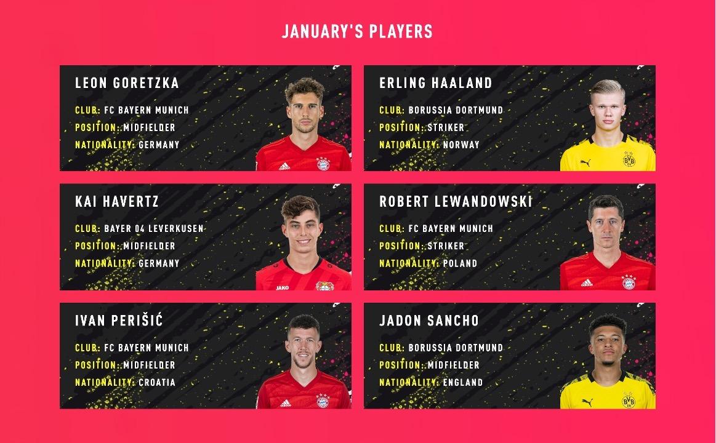January shortlist for Bundesliga POTM