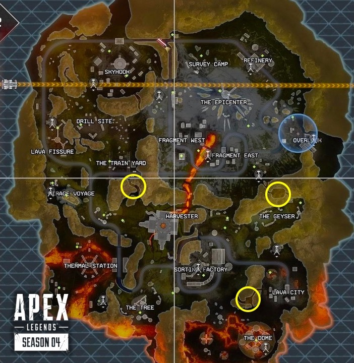 Loot vault locations on Apex Legends map