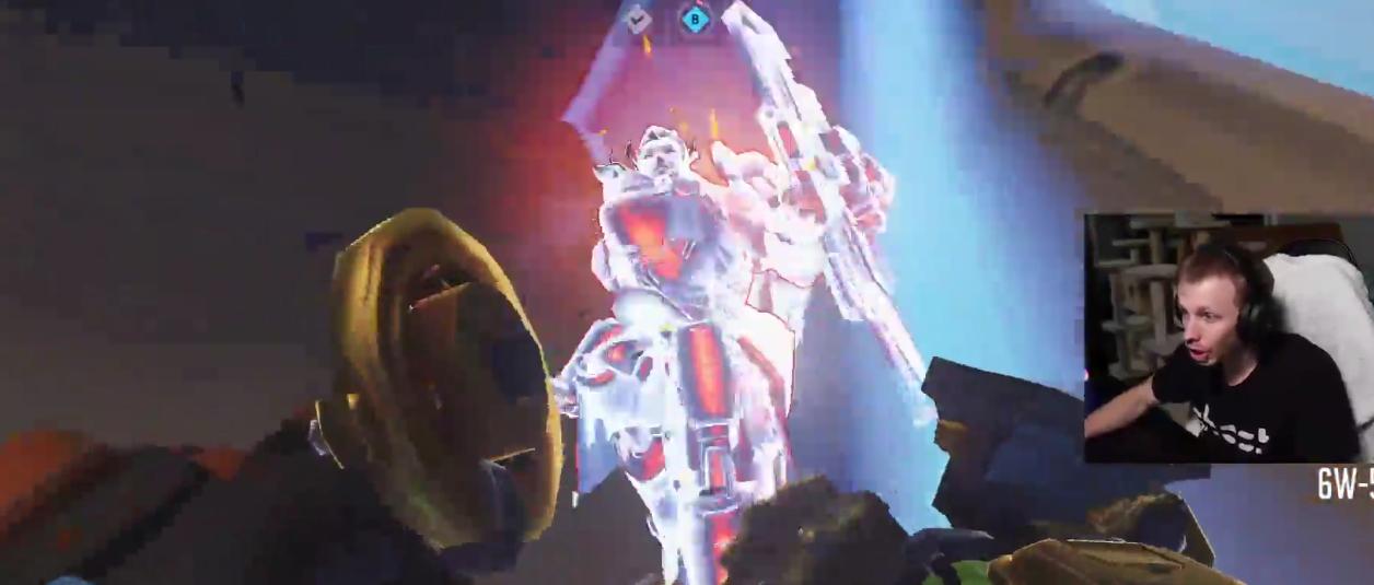 Overwatch's Brigitte survives a whole Roadhog Wholehog at close range during Jay3's stream