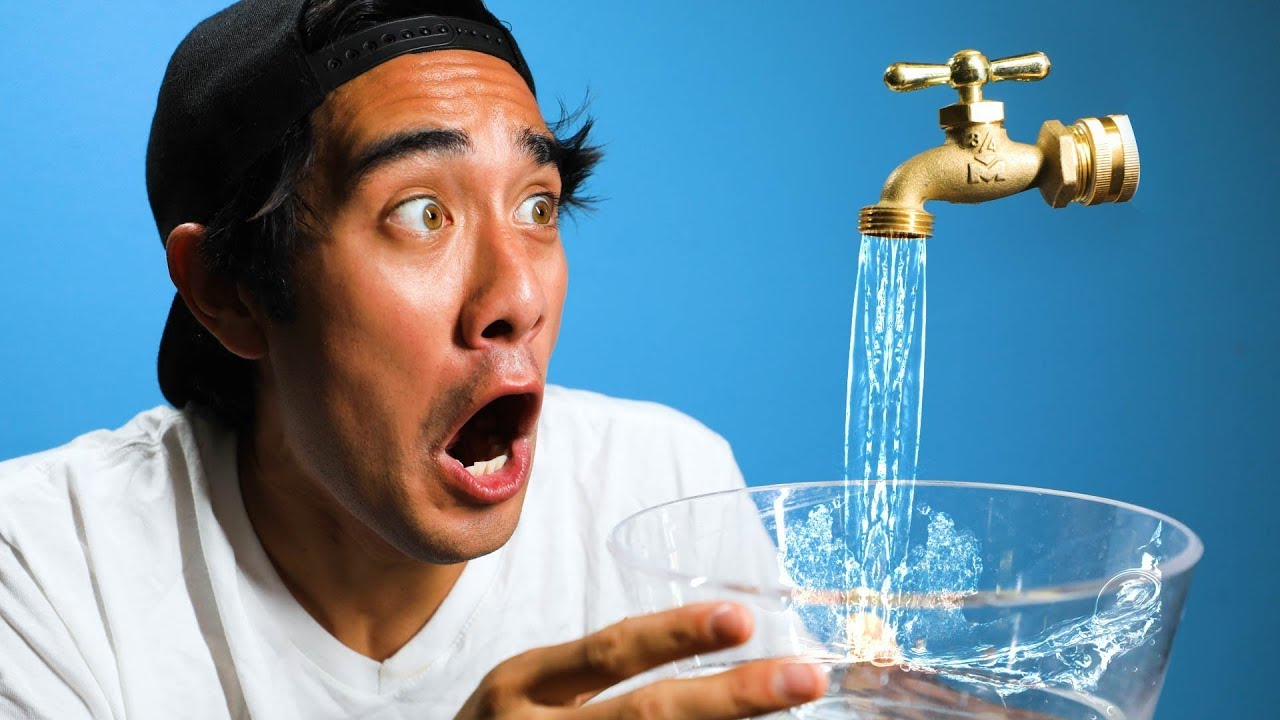Zach King from TikTok holding a bowl of water with a faucet
