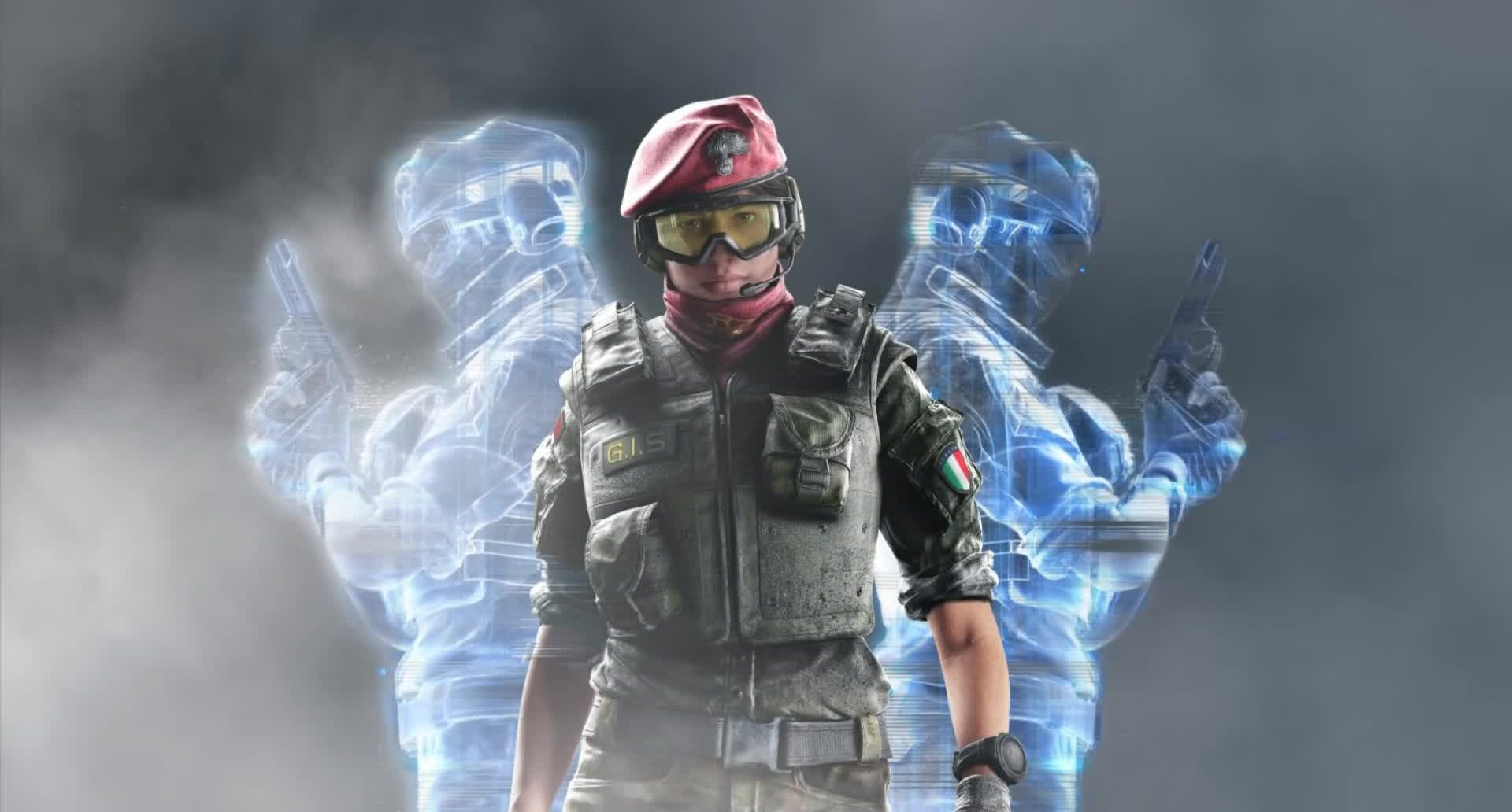 Alibi standing with holograms in Rainbow 6