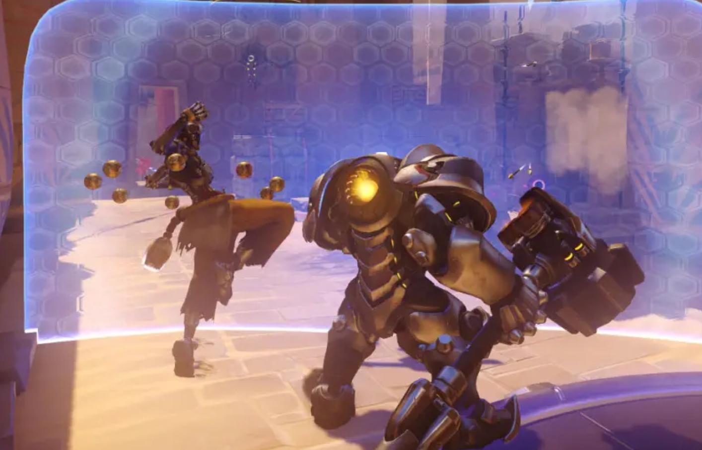 Reinhardt holding shield in Overwatch