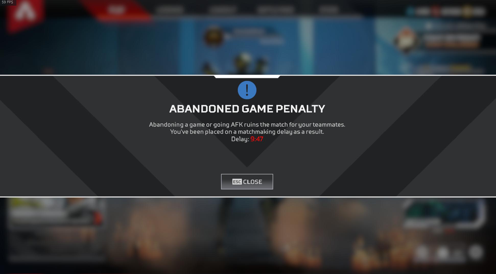 Leaving penalty in Apex Legends.
