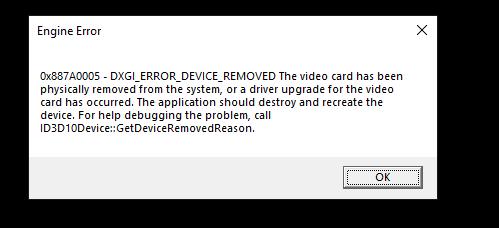 DXGI error from Apex Legends' Season 2.