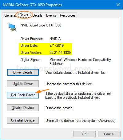 How to roll back drivers on Windows 10.