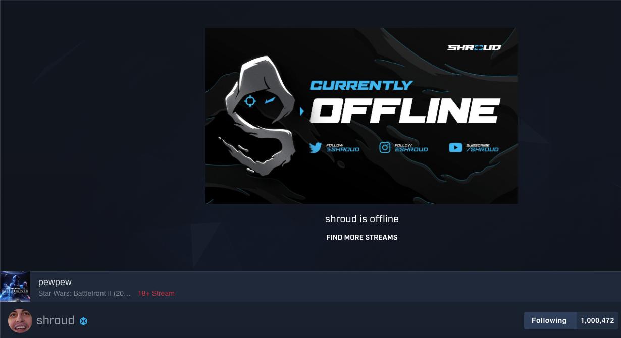 A screenshot of Shroud's Mixer channel in offline mode
