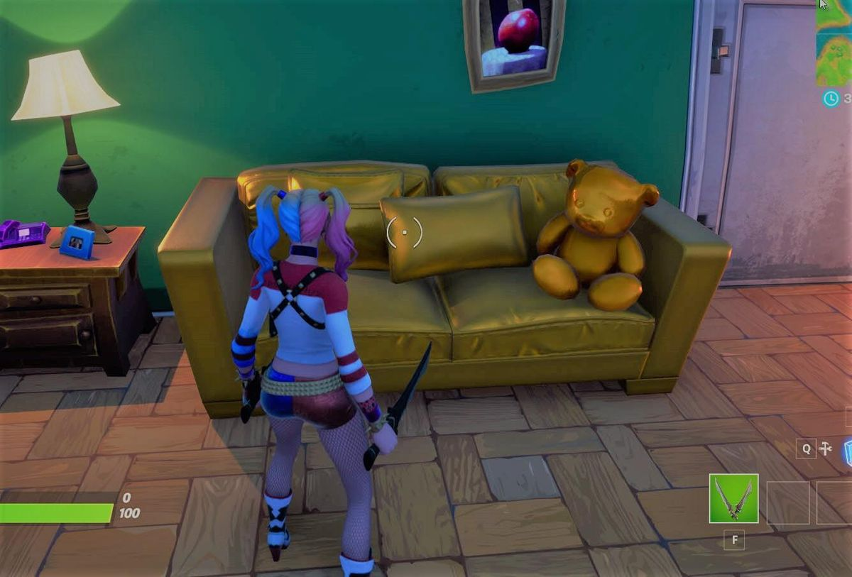 A gold couch in Fortnite Chapter 2, Season 1.