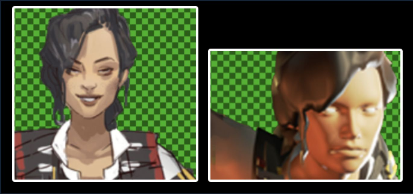 Rosie in apex legends animation on green background