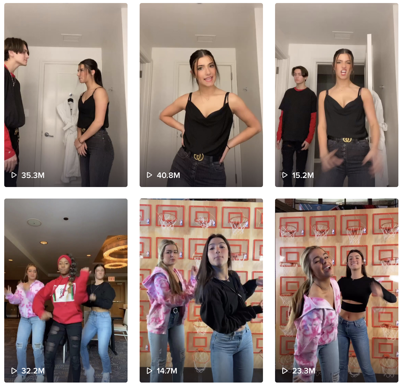 charli damelio tiktok timeline with thumbnails