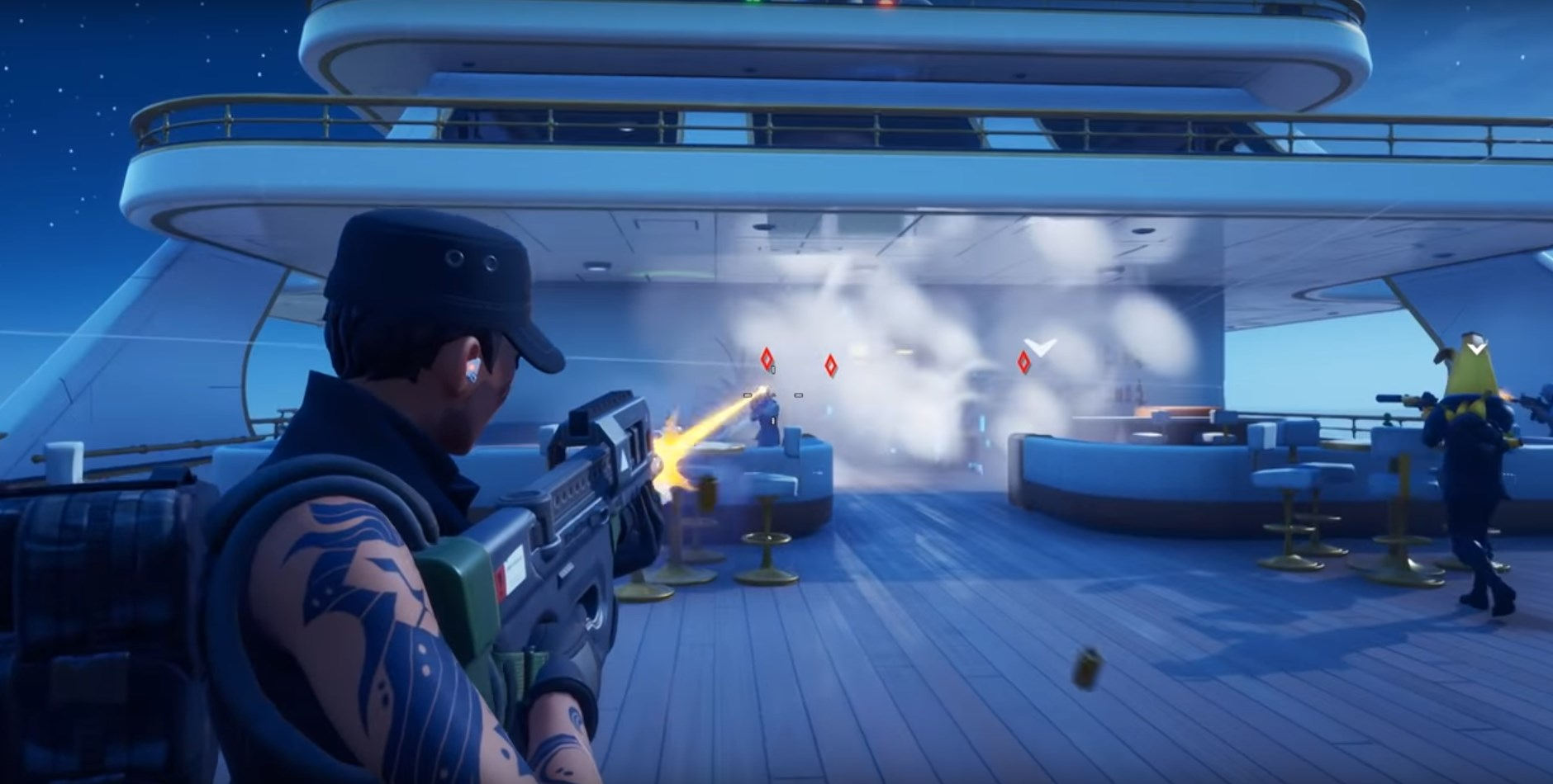 Fortnite player shooting enemies marked by the Shakedown.