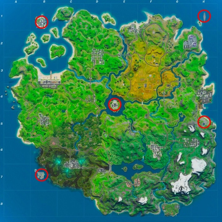 Loot vaults on Fortnite map