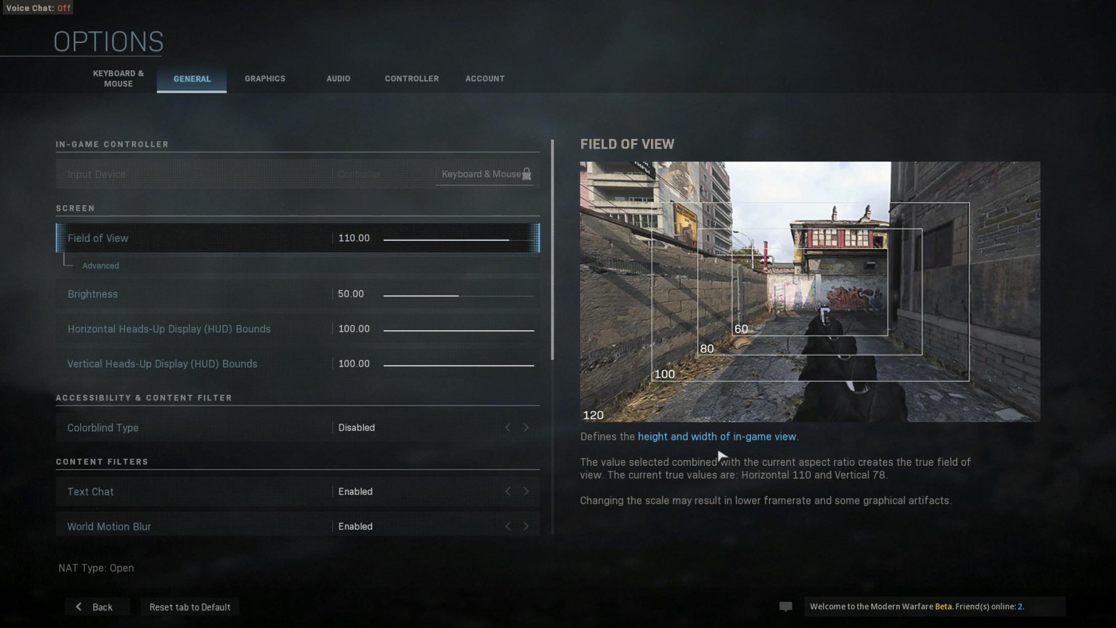 FOV slider option in Modern Warfare on PC.
