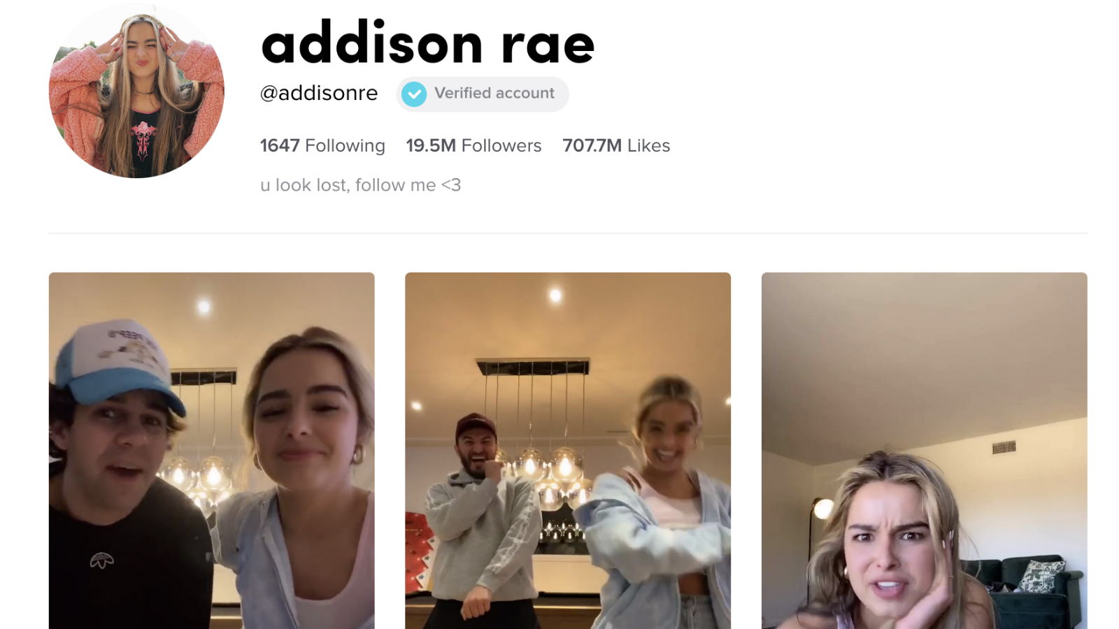 Addison Rae TikTok profile