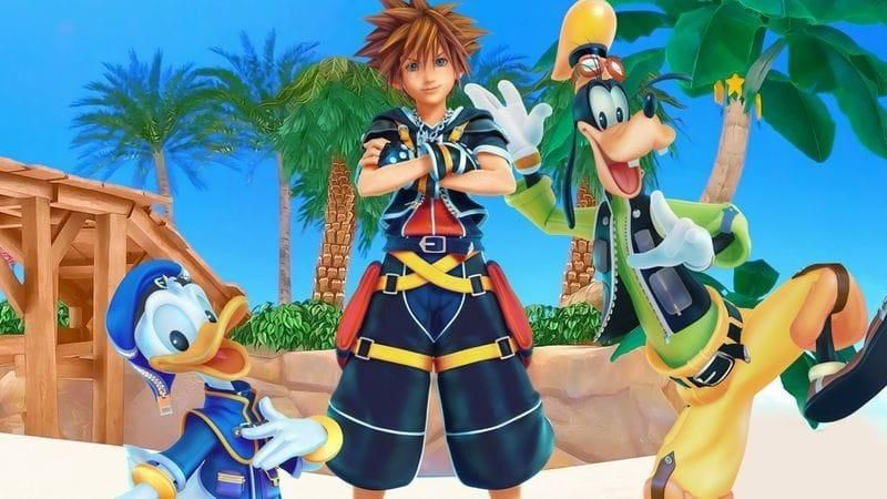Sora from Kingdom Hearts with Goofy and Donald Duck