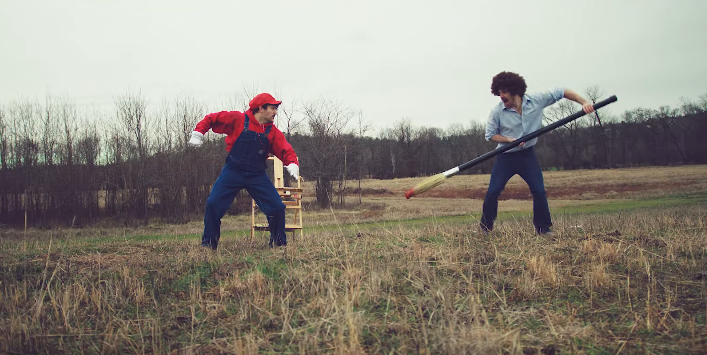 Mario fights a paintbrush-wielding Bob Ross in a Smash Bros parody video by Nukazooka.