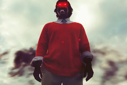 A demonic Mr Rogers shows up to fight Bob Ross in Smash Bros parody.