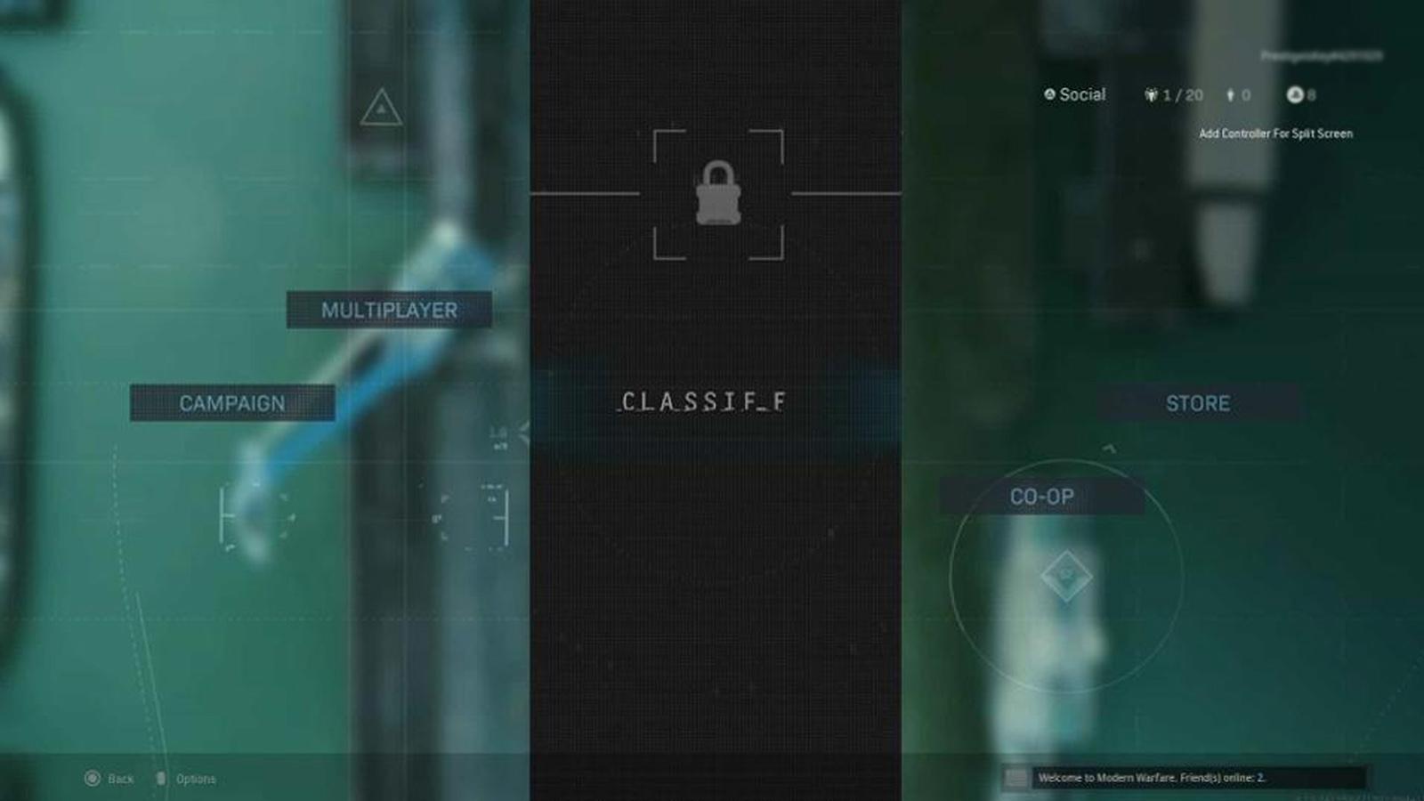 Main menu in Modern Warfare.