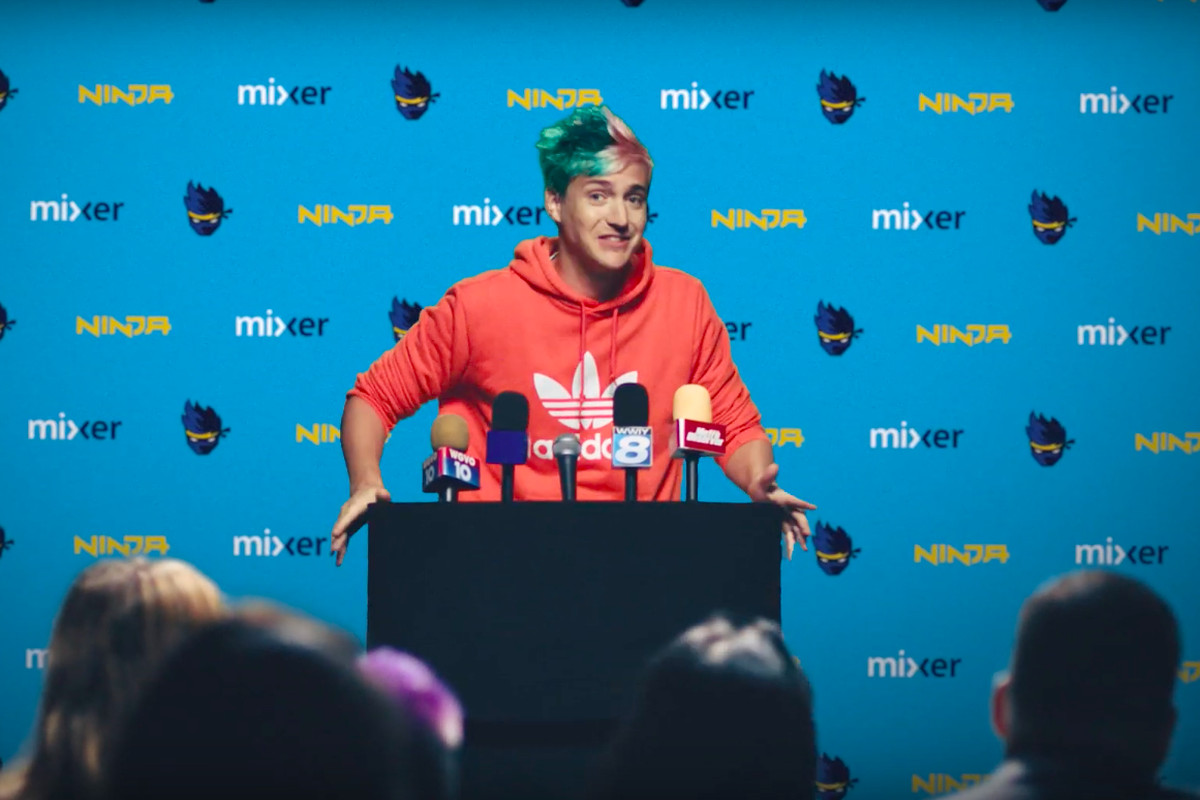 Ninja holds Mixer press conference in Adidas hoodie