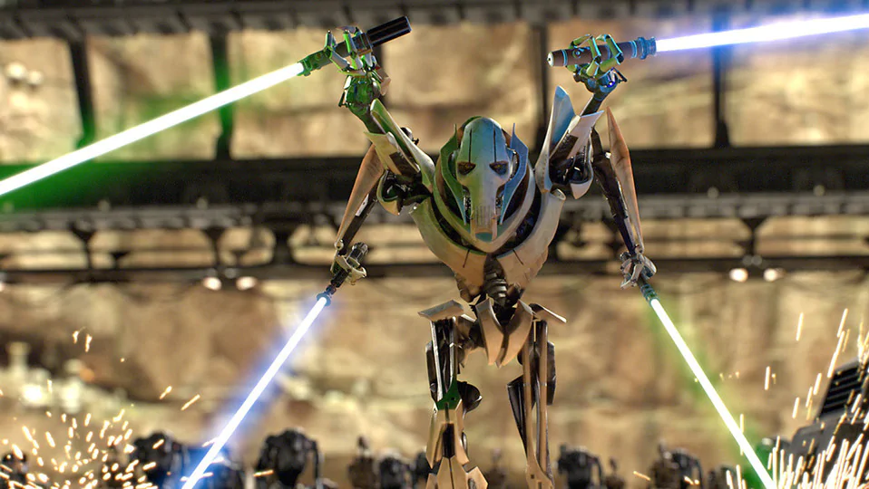 General Grievous fighting in Revenge of the Sith