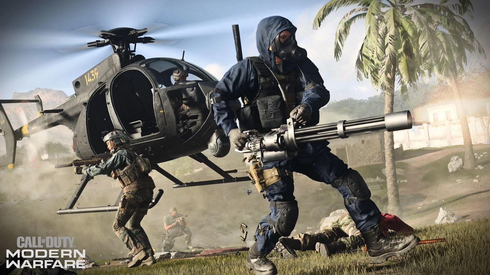 Player firing a minigun in Modern Warfare.