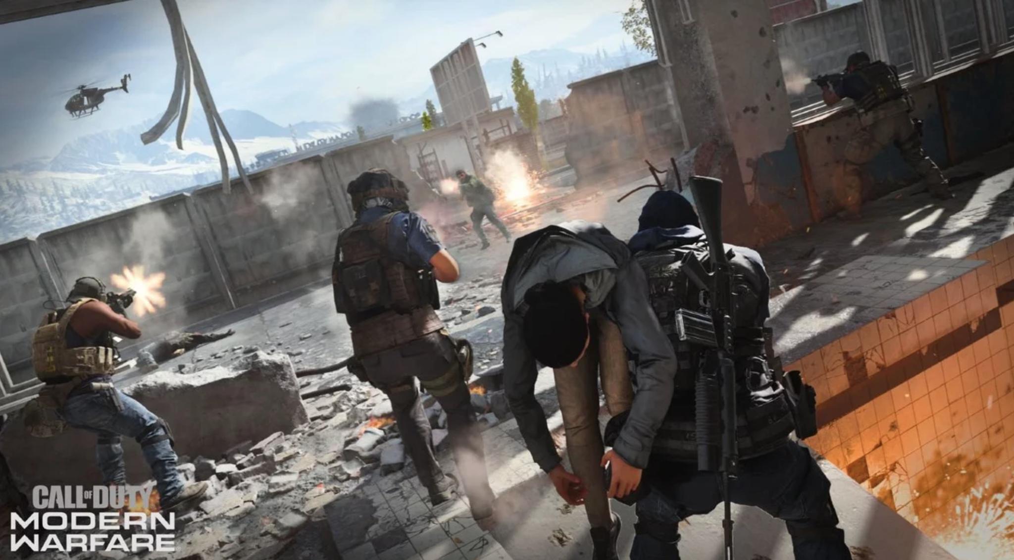 Reviving player in Modern Warfare.