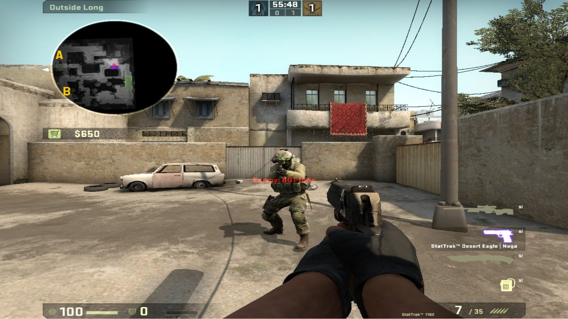 Stretched resolution in CSGO aiming at an enemy