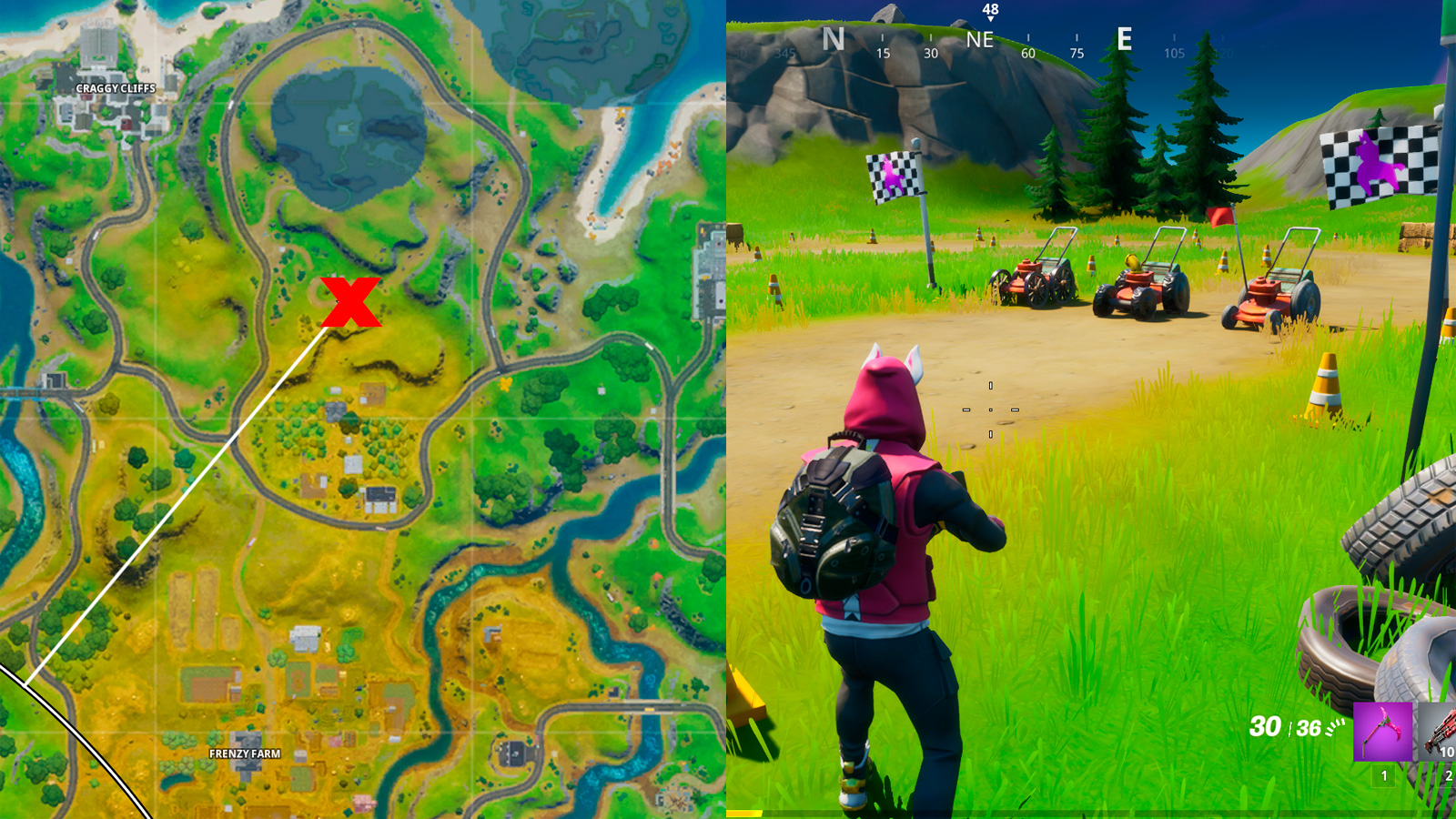 Map and location of Mowdown spot in Fortnite.