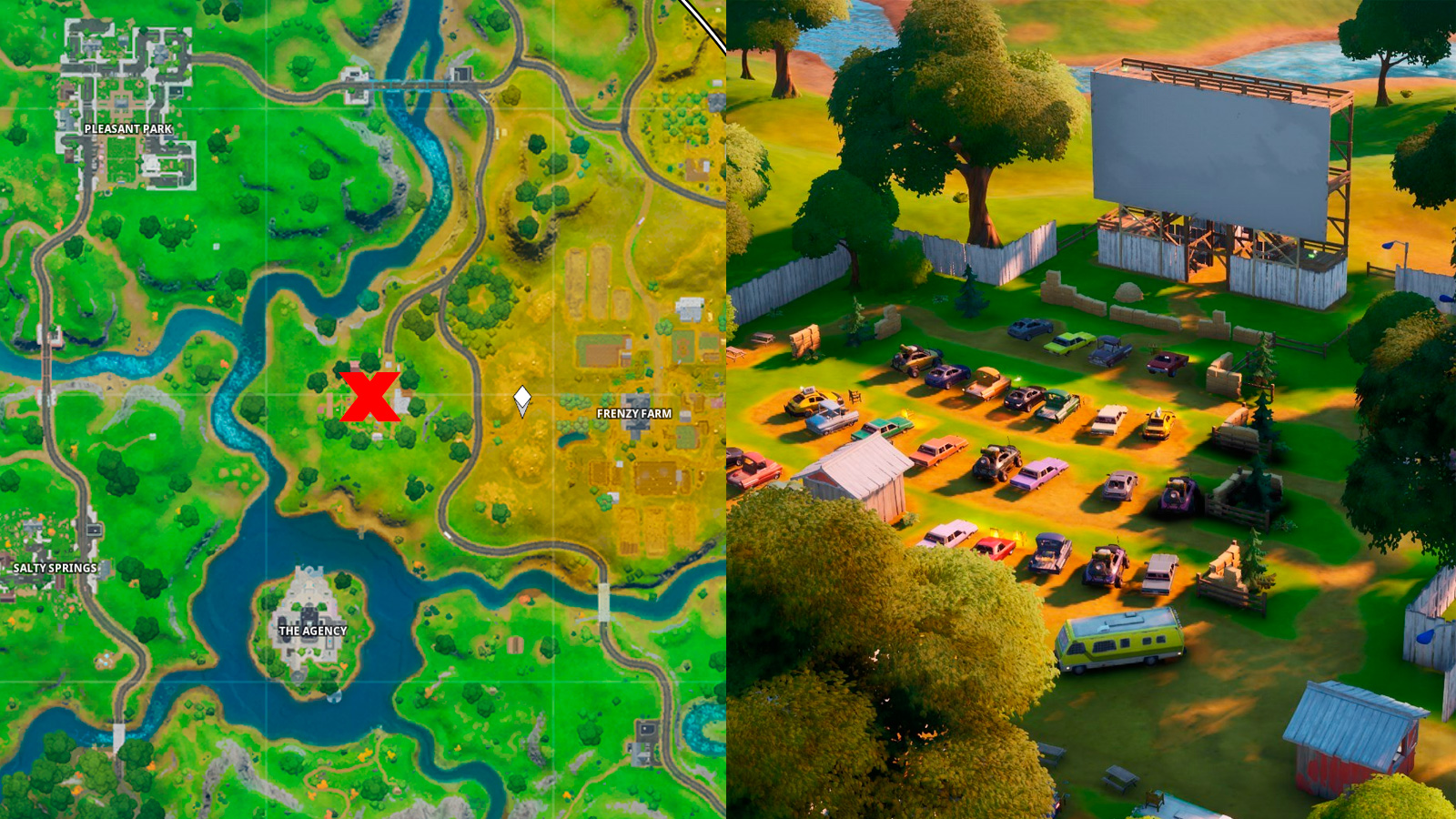 Risky Reels map spot and location in Fortnite.