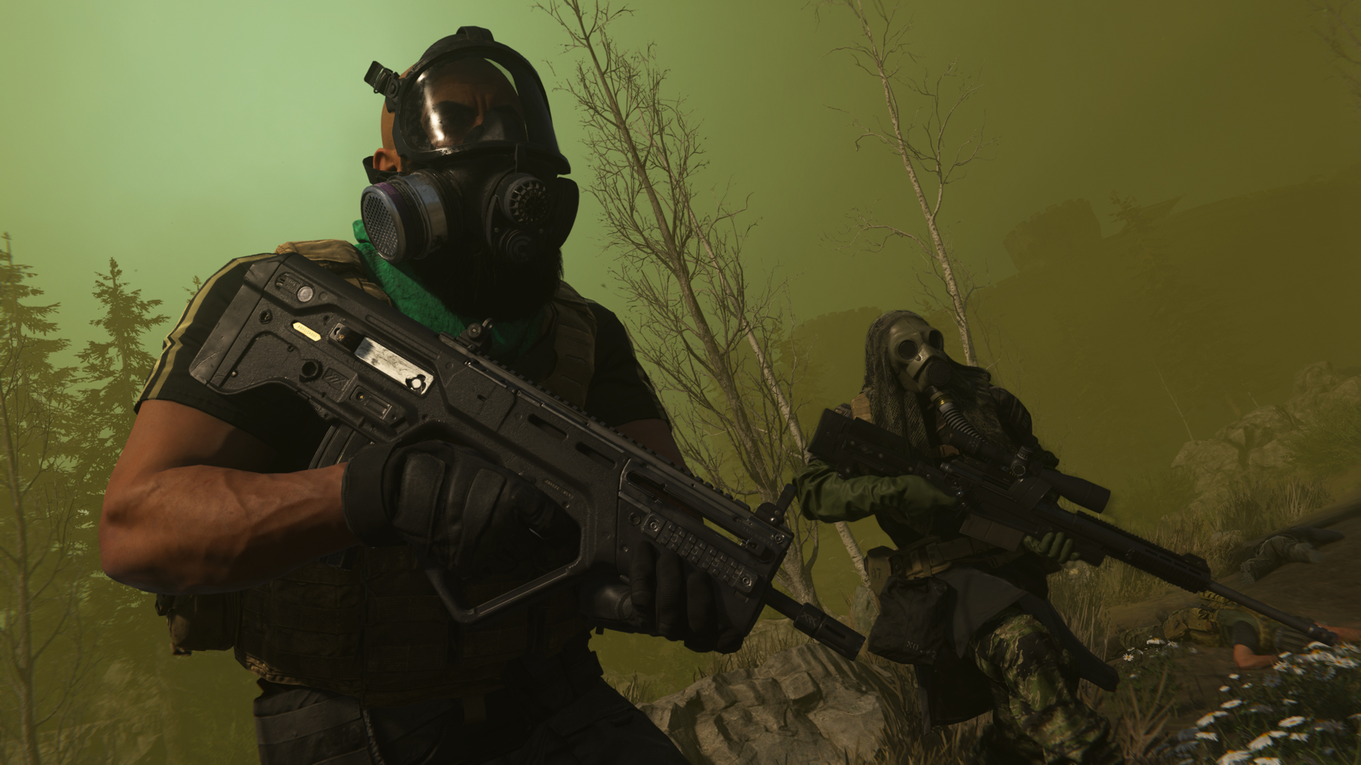 Players avoiding the gas circle collapse in Warzone.