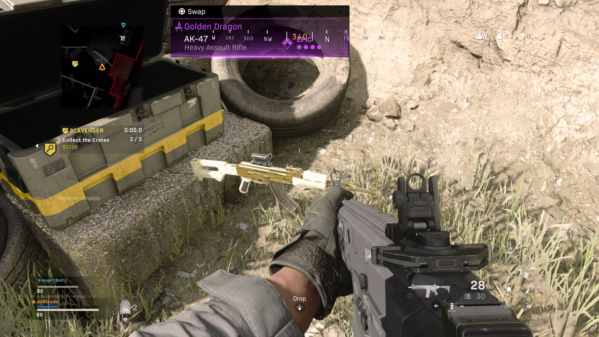 Player inspecting weapon in Warzone.