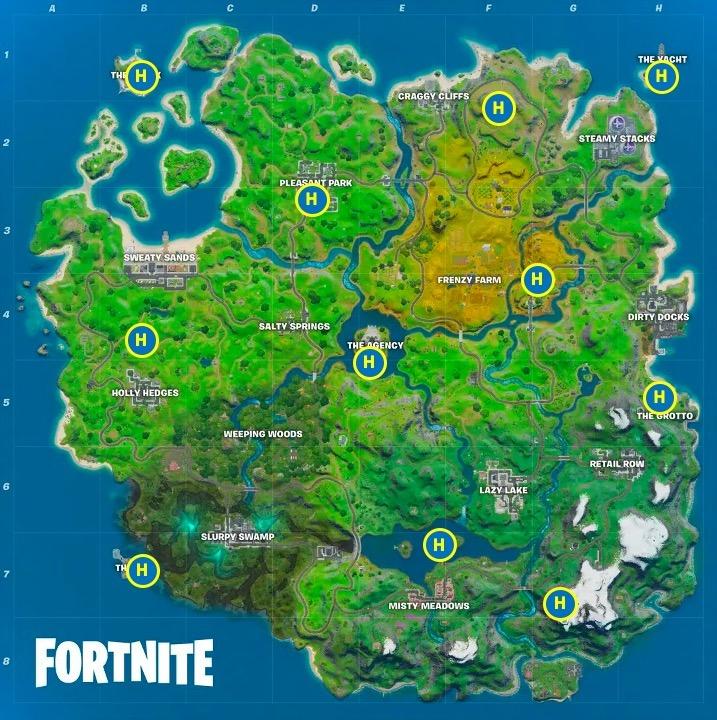 Choppa location map for Fortnite