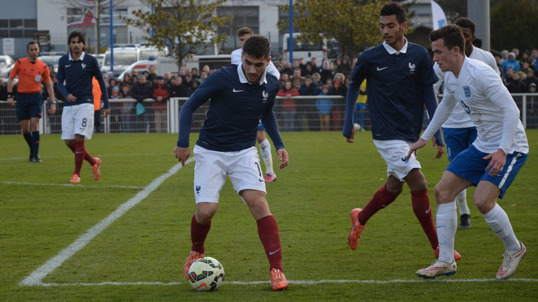 An image of Neal Maupay in action for France in the Toulon Tournament