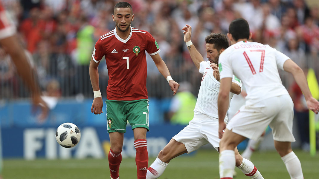 Hakim Ziyech in action for morocco in the 2018 FIFA World Cup