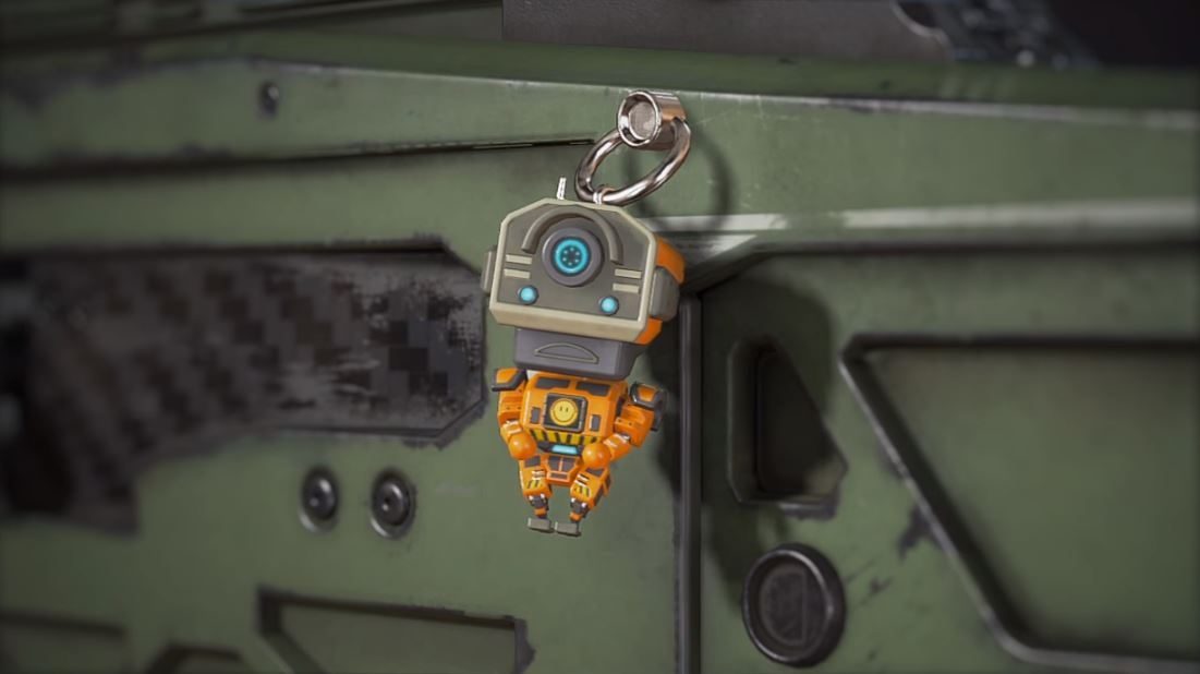 Pathfinder's Bobblehead charm in Apex Legends.