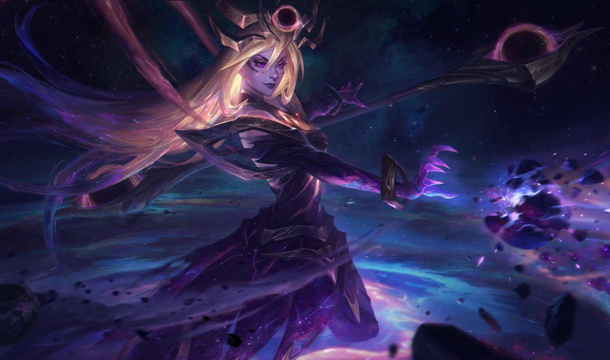 Dark Cosmic Lux splash art for League of Legends