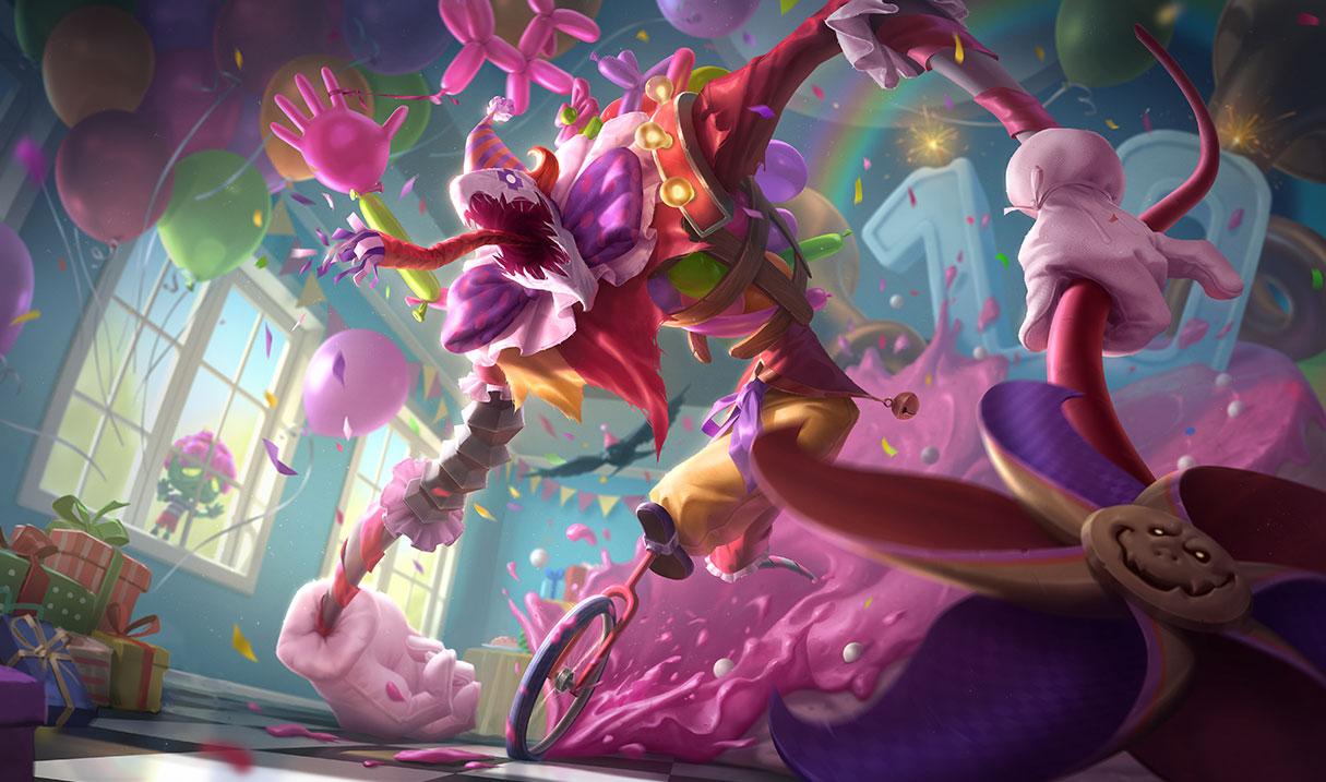 Surprise Party Fiddlesticks splash art for League of Legends