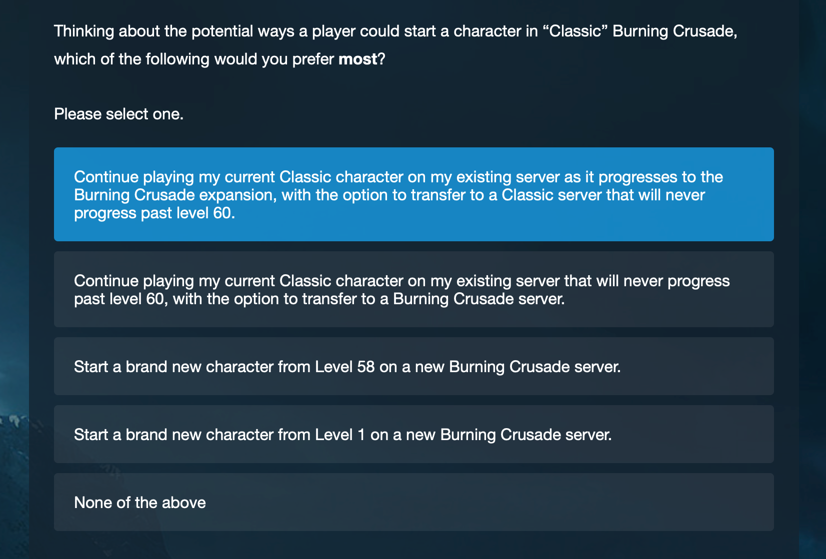 A survey sent out by Blizzard has tipped off WoW players that The Burning Crusade re-release is on the horizon.