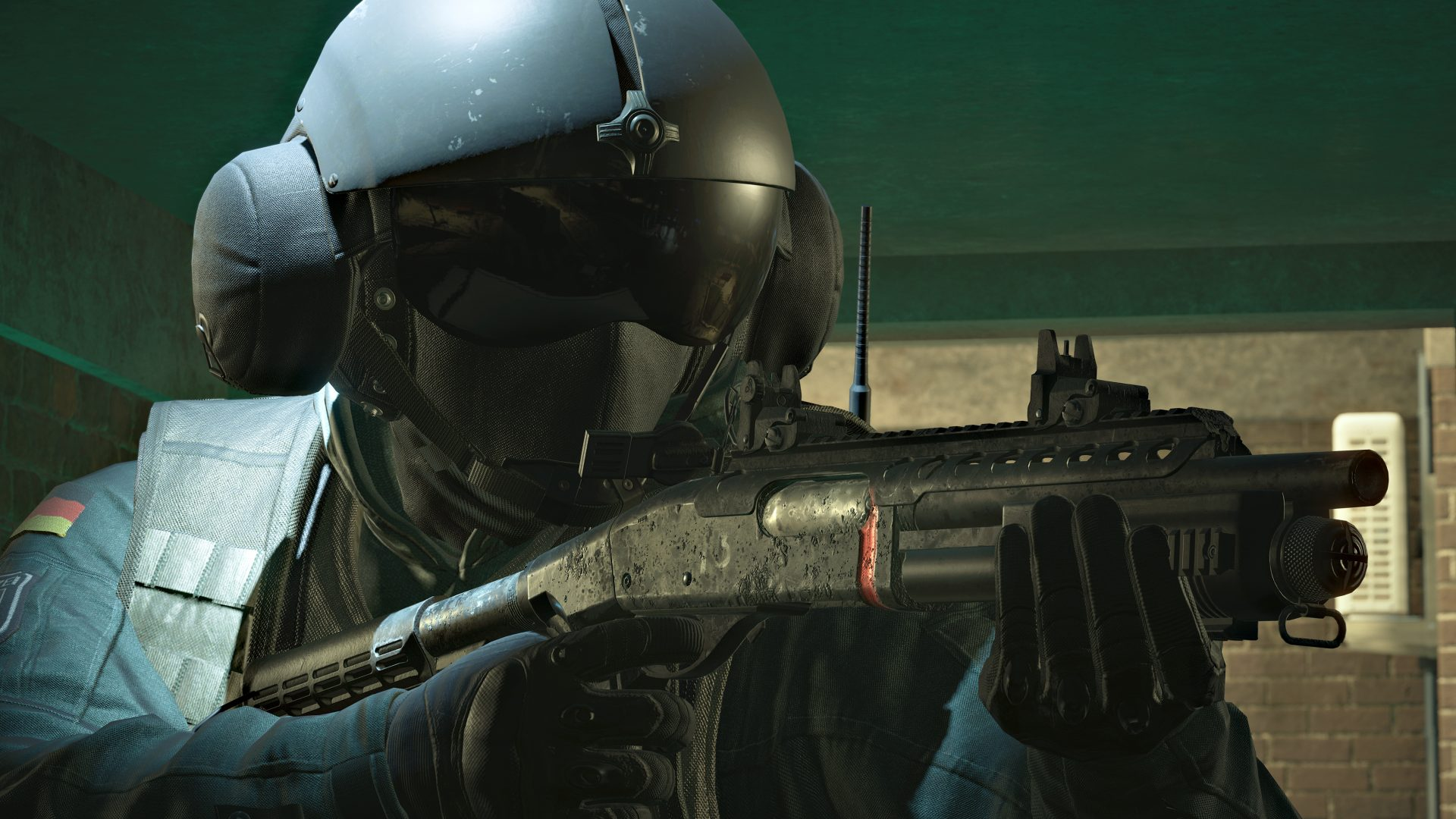 Jager holding M870 in Rainbow Six Siege