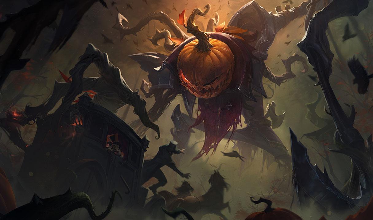 Pumpkinhead Fiddlesticks splash art for League of Legends
