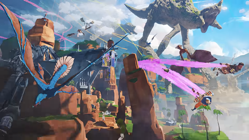 Apex Legends cinematic of Wattson and Bangalore dropping into Kings Canyon.