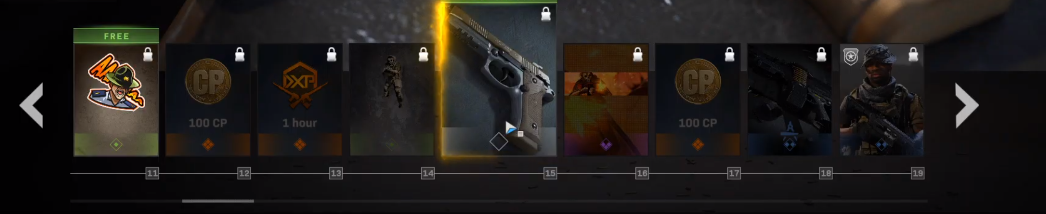 The instant items and tiers 11-19 of the Modern Warfare Season 3 Battle Pass.