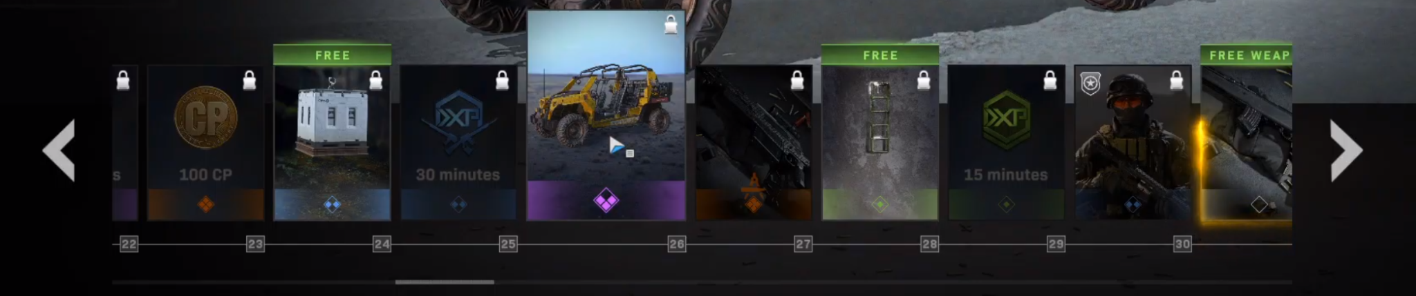 The instant items and tiers 22-30 of the Modern Warfare Season 3 Battle Pass.