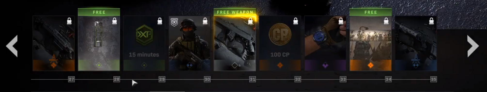 The instant items and tiers 27-35 of the Modern Warfare Season 3 Battle Pass.