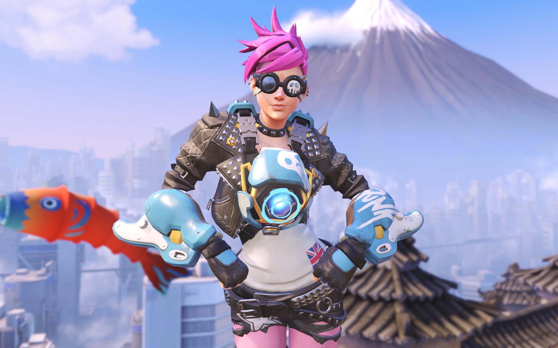Punk Tracer skin in Overwatch on Hanamura backdrop