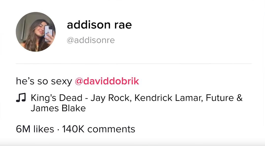 Addison Rae's TikTok caption with David Dobrik.