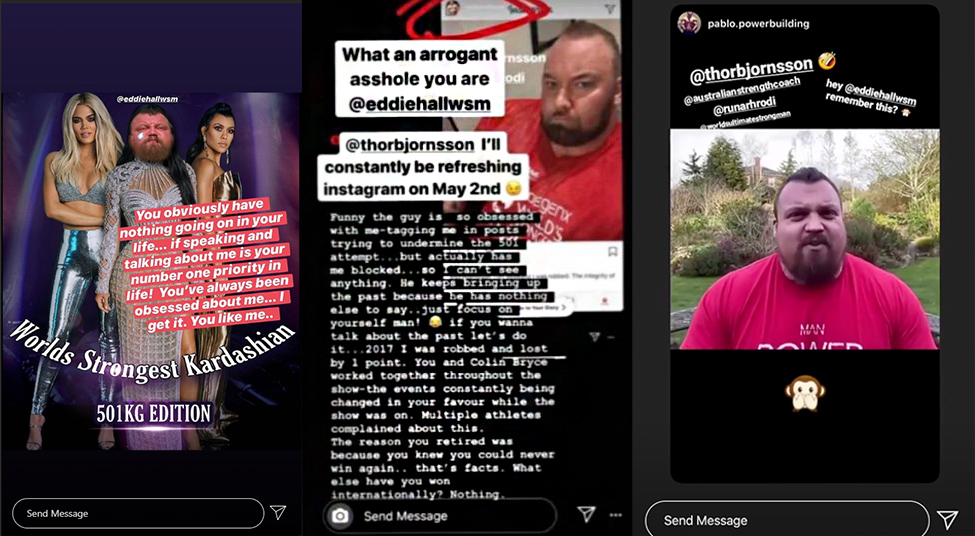 Hafthor Bjornsson's Instagram story.