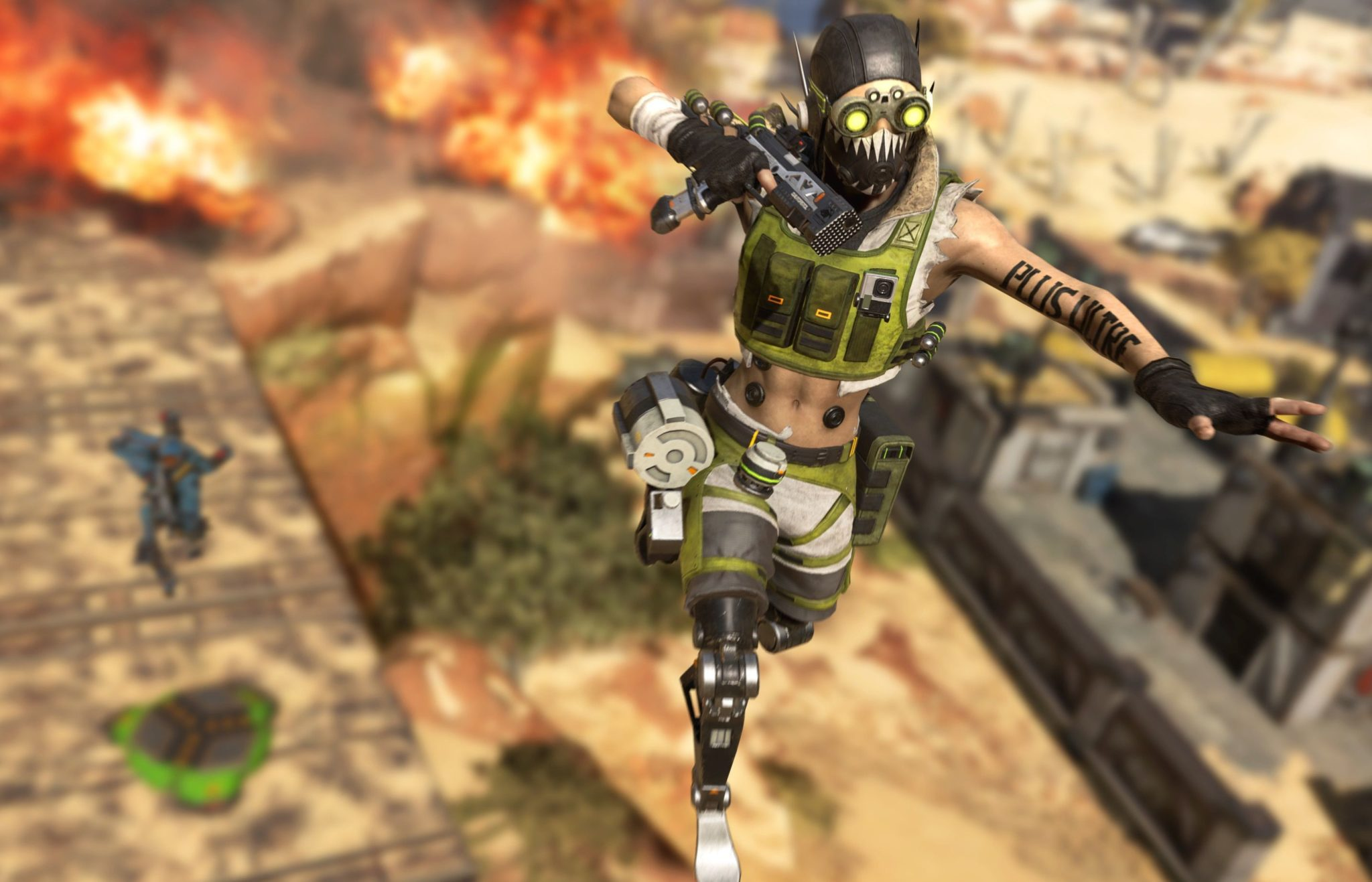 Octane using his Jump Pad in Apex Legends.