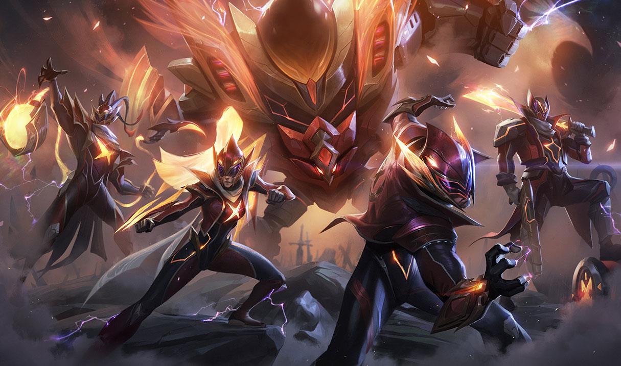 FunPlus Phoenix Worlds 2019 skins splash art for League of Legends