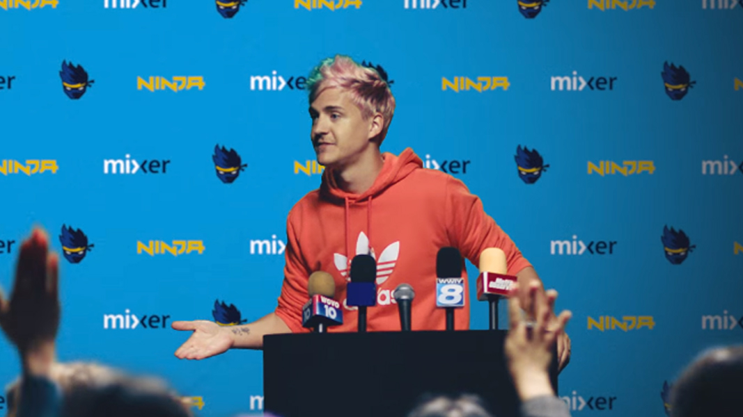 Ninja during Mixer press conference.