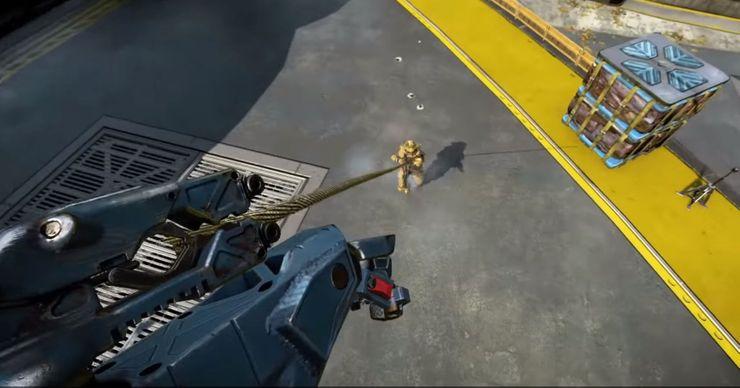 Pathfinder using Grappling Hook in Apex Legends.